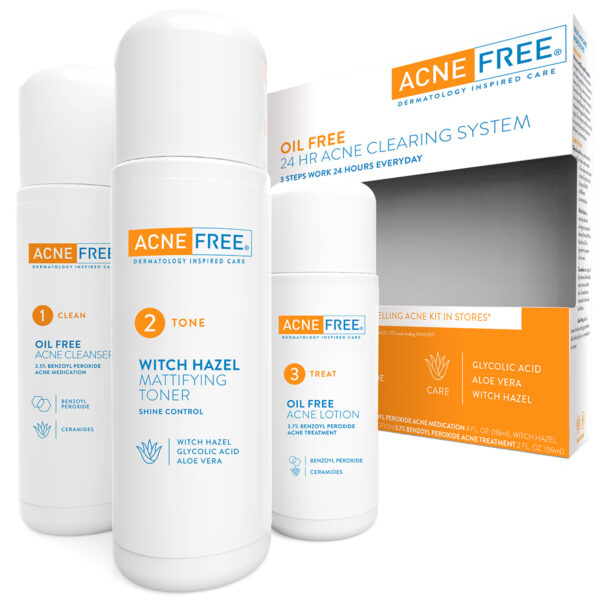Acne Free Oil Free 24 HR Acne Treatment Kit, 3 Step Acne Clearing System