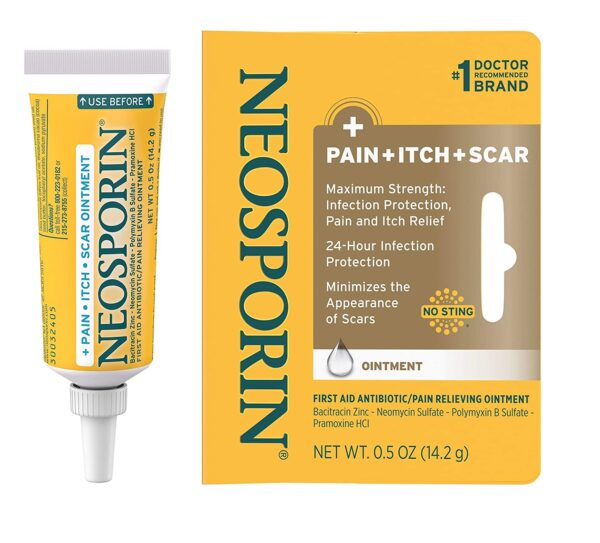 Neosporin Pain Itch Scar Antibiotic Ointment for Infection Prevention and Pain Relief, 0.5oz oz