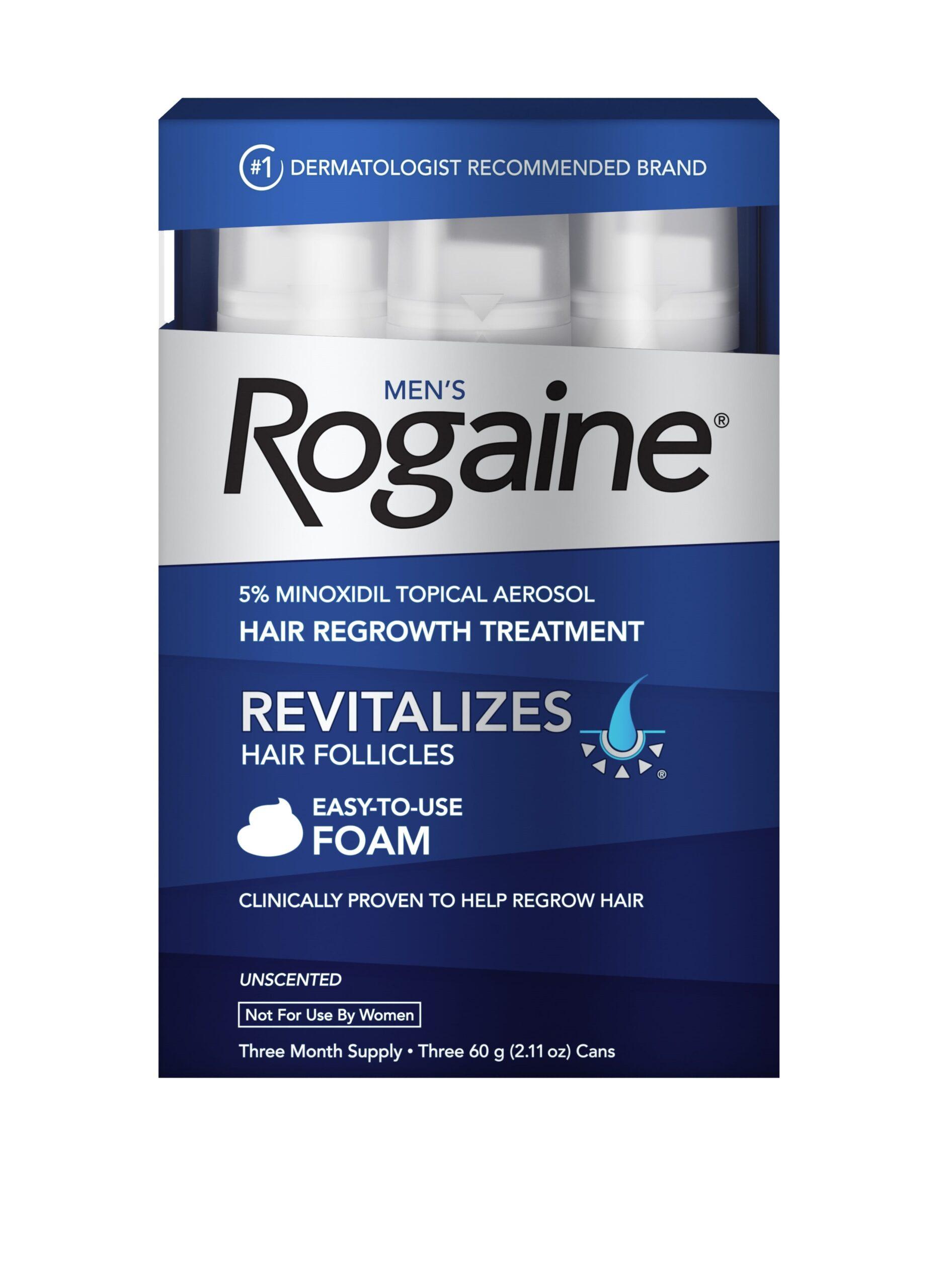 Men's Rogaine 5% Minoxidil Foam for Hair Regrowth, 3-month Supply