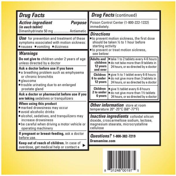 Dramamine Original Motion Sickness tablets Ingredients