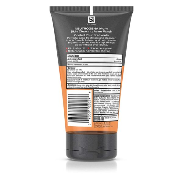 Neutrogena men daily face wash for acne treatment ingredients